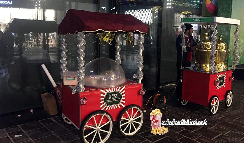 pamuk şekeri ve patlamış mısır arabası