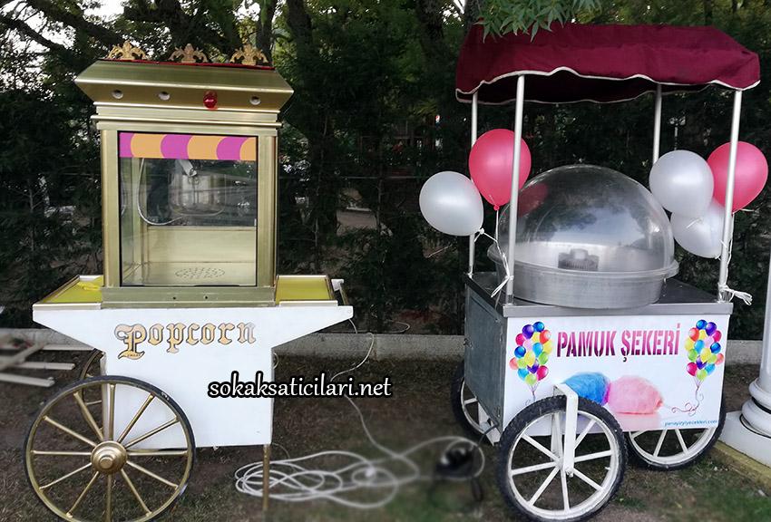 popcorn ve pamuk şeker arabası